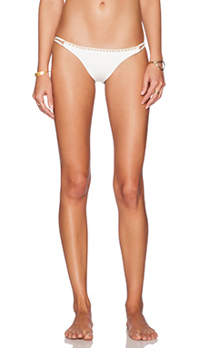 ale by alessandra White Sands Shell Stitch Brazilian Bikini Bottom in White