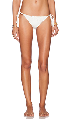 ale by alessandra White Sands Shell Stitch Boa Side Tie Bikini Bottom in White Lace