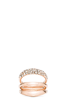 Alexis Bittar Crystal Encrusted Draping Ring Size 6 in Rose Gold