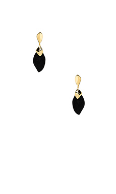 Alexis Bittar Small Liquid Metal Capped Pendant Post Earring in Black Lucite & Gold