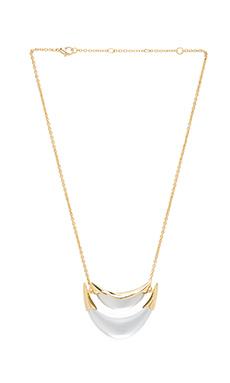 Alexis Bittar Medium 2 Tier Liquid Metal Suspended Pendant Necklace in Silver Lucite & Gold