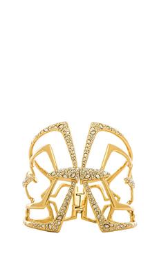 Alexis Bittar Encrusted Mirror Hinge Bracelet in Gold