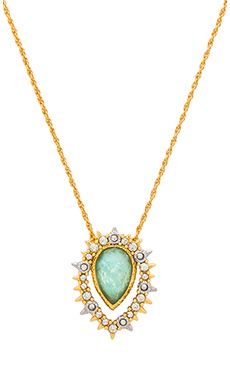 Alexis Bittar Framed Amazonite Crystal Pendant Necklace in Gold