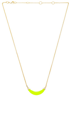 Alexis Bittar Capped Crescent Pendant Necklace in Neon Yellow