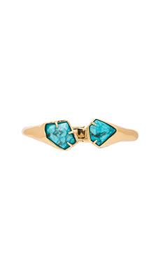 Alexis Bittar Asymmetrical Hinge Bracelet in Gold & Turquoise