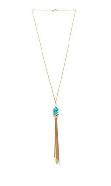 Alexis Bittar Orbiting Tassel Pendant Necklace in Gold & Turquoise