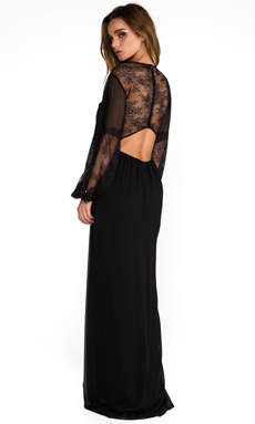 Alice + Olivia Saori Blouson Sleeve Maxi Dress in Black