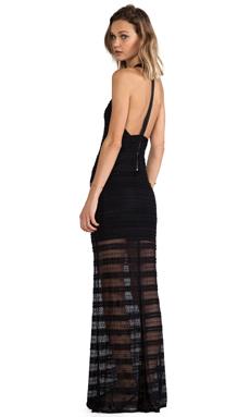 Alice + Olivia Lavinia Leather T-Back Maxi Dress in Black