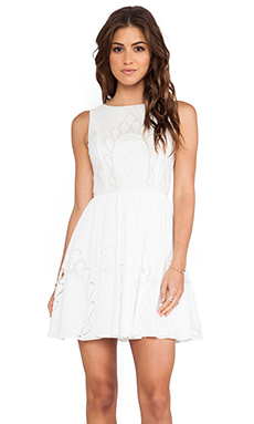 Alice + Olivia Vinny Embroidered Party Dress in White
