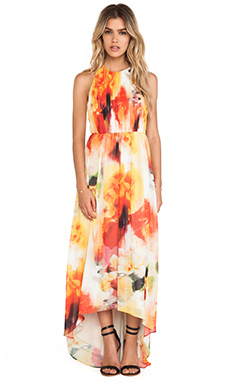 Alice + Olivia Ryan High Neck Leather T-Back Maxi Dress in Sunset Blur