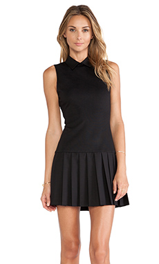 Alice + Olivia Collared Pleated Drop Waist Dress in Black