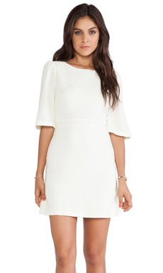 Alice + Olivia Maely Bell Sleeve Dress in Winter White