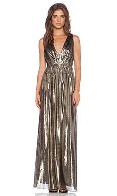 Alice + Olivia Issa Pleated Maxi Dress in Bronze