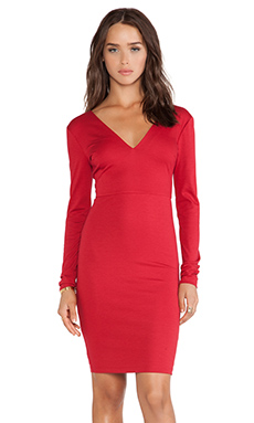 Alice + Olivia Fiona V Neck Mini Dress in Royal Red