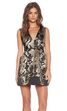 Alice + Olivia Pacey Lantern Dress in Black & Gold
