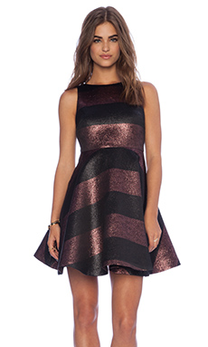 Alice + Olivia Foss Cutout Back Dress in Berry & Black