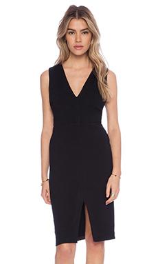 Alice + Olivia Tany Low V Neck Dress in Black