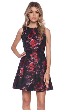 Alice + Olivia Jorah Box Pleat Dress in Black & Multi Floral