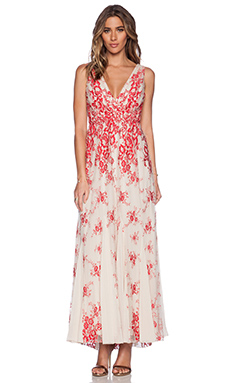 Alice + Olivia Brolley Maxi Dress in Red & Sesame