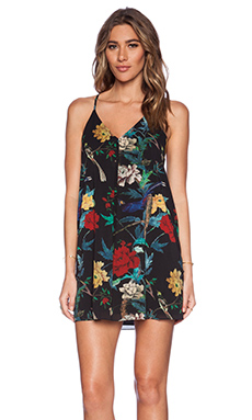 Alice + Olivia Fierra Y Back Mini Dress in Floral Bird