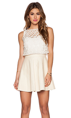 Alice + Olivia Juile Leather and Lace Dress in Cream & Bone