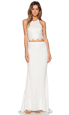 Alice + Olivia Cross Back Matching Lace Set in Cream