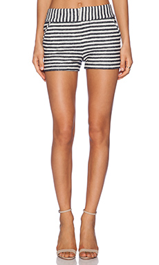 Alice + Olivia Clean Back Zip Short in Navy & Black