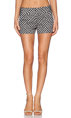 Alice + Olivia Cady Short in Black & Cream