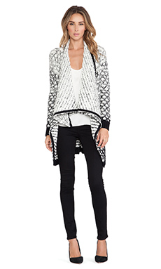 Alice + Olivia Ombre Novelty Cascade Cardigan in Cream & Black