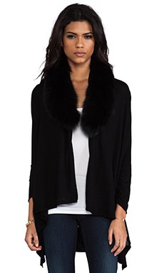 Alice + Olivia Izzy Cascade Fur Cardigan in Black