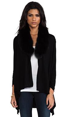 Alice + Olivia Izzy Cascade Fur Cardigan in Black