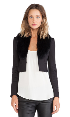 Alice + Olivia Ridley Blue Fox Fur Collar Cropped Blazer in Black