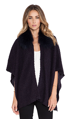 Alice + Olivia Zoe Fur Collar Poncho in Navy