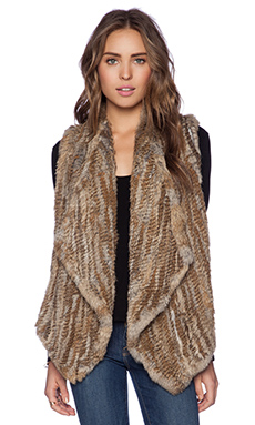 Alice + Olivia Harriet Rabbit Fur Vest in Black Tan Multi