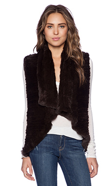 Alice + Olivia Rabbit Fur Vest in Chocolate