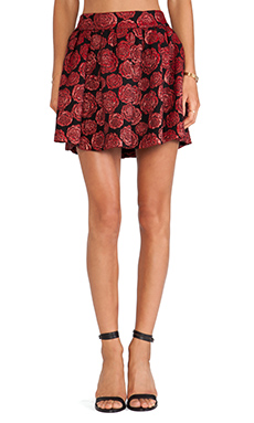 Alice + Olivia Fizer Box Pleat Skirt in Red Multi Floral