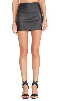 Alice + Olivia Neville Leather Mini Skirt in Black