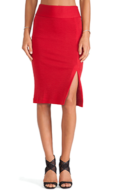Alice + Olivia Tani High Slit Pencil Skirt in Royal Red