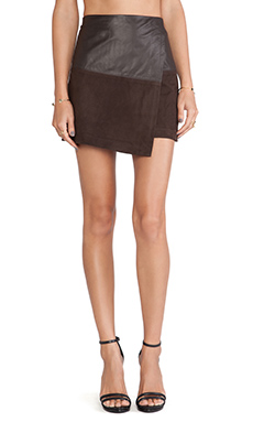 Alice + Olivia Leather Wrap Mini Skirt in Chocolate