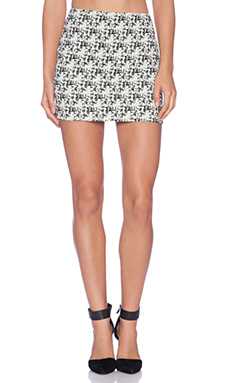 Alice + Olivia Elana Mini Skirt in Cream & Black
