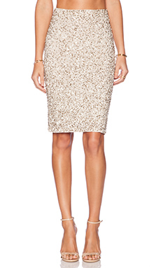 Alice + Olivia Ramos Embellished Skirt in Cream & Silver