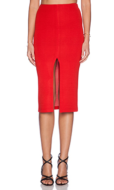 Alice + Olivia Spiga Front Slit Pencil Skirt in Red