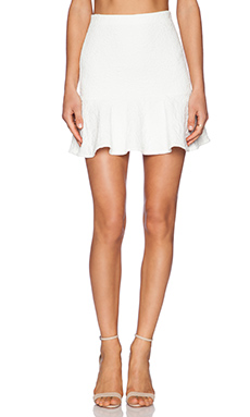 Alice + Olivia Lewis Drop Waist Flounce Skirt in Off White
