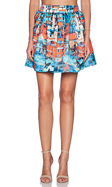 Alice + Olivia Stora Box Pleat Skirt in Butterfly Paradise