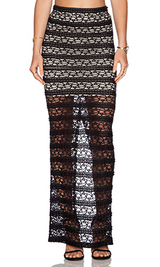 Alice + Olivia Ettley Lace Maxi Skirt in Black & Cream