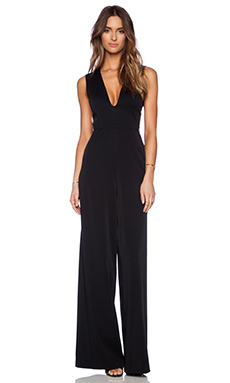 Alice + Olivia Londyn Sheer Panel Jumpsuit in Black