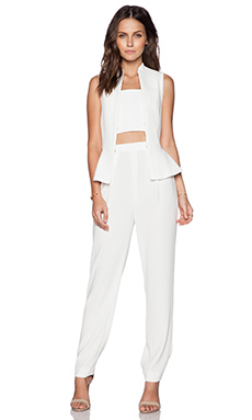 Alice + Olivia Erica Peplum Jumpsuit in Off White & Cream
