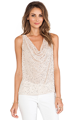 Alice + Olivia Lucy Embellished Trapeze Top in Nude Lip & Silver