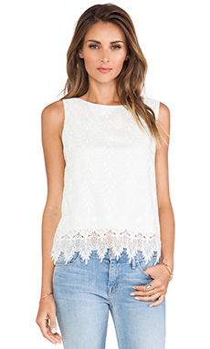 Alice + Olivia Anya Embroidered Tank Top in Off White