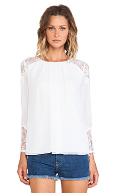Alice + Olivia Danyelle Lace Shoulder Pleat Front Blouse in White